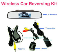 "Mirror & Covers China (Mainland) WRV-432 Free Shipping!!Wireless 4.3"" LCD Color Car Mirror Monitor Reversing Rear View IR Camera Kit"