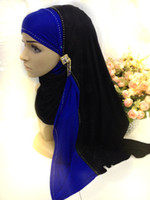 Wholesale SYF042 two tone rhinestones jersey cotton muslim long scarf hijab fast delivery assorted colors