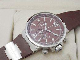 luxury swiss mens watches fashion UN brown rubber watch strap dive date top brand new design wrist watches best men quartz chronograph watch