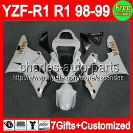 Wholesale Custom gifts For YAMAHA YZF R1 Gold decals Pearl white YZF R1 YZFR1 YZF1000 YZF pearl white Fairings Kits