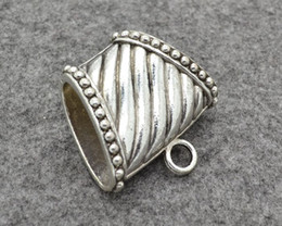 Wholesale Slide Scarf Accessories - double side Shiny alloy Slide Holding Tube Bails Charm for jewelry scarf DIY Accessories