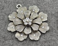 Wholesale Alloy Grey three layer flower rhinestones Flower Heart pendant jewelry Scarf charm Accessories