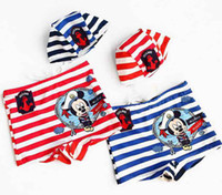 Wholesale 2014 Hot Summer Boys Navy Miki Striped With Hat Flat Foot Swim Trunks Kids Cartoon Short Pants Red Bule Trunks Children Stripeds Beach Wear
