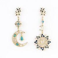 Wholesale Fashion Spring Bijoux For Women Vintage Gothic Style Moon And Sun Design Asymmetric Drop Earrings