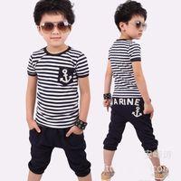Wholesale 2014 New Arrival Baby Boy Summer Clothing Summer Navy Stripes T shirt Short Children Suit