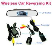 "Mirror & Covers China (Mainland) WRV-432 Free Shipping!!Wireless 4.3"" LCD Color Car Mirror Monitor Reversing Rear View IR Camera Kit"