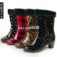 Wholesale Warm Rubber Boots Dot Leopard Print Grid New Crystal Rain Boot Winter Warm Rain Boots Female High Heel Waterboots