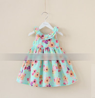 Wholesale Summer Children Girls Sleeveless Ruffles Collar Flowers Princess Dresses Kids Pleated Bowkont Double Fabric Dress Child Floral Dressy H0157