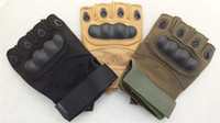 Wholesale 2014 Military Tactical amp combat airsoft amp Motorcycle half finger Sports racing army green black yellow gloves GY133