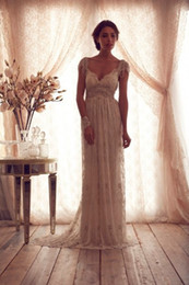 Wholesale 2014 New Arrival Luxury V Neck Anna Campbell Wedding Dresses Lace Crystal Beaded Bridal Gowns With Cap Sleeves Bacless V Back Prom Dress