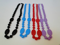 Wholesale MIX COLOR Teething Silicone Necklace for Baby BPA Free Silicone Teether Necklace Baby Chewlry Necklace Mommy Necklaces