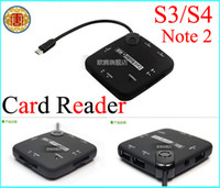 Wholesale All in One Card reader Ports Micro USB HUB For Samsung Galaxy S3 S4 Note Tab Connection Kit OTG Card Reader