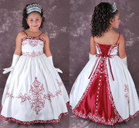 Wholesale Cheap Ball Gown Flower Girls Dresses Spaghetti Strap Pattern Floor Length Lace Up Back Taffeta Vintage Girls Dresses
