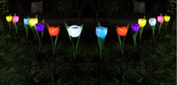 Wholesale Solar Powered Tulip flower light Outdoor Yard Garden Path Way Solar Power LED Tulip flower