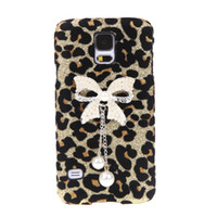 Wholesale Cell Phone PC Hard Back Cases Protective Shell Bling Pearl Bowknot Pendant Leopard Villus Cover for Samsung Galaxy S5 i9600 PA1610