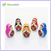 Wholesale Russia Doll Memory Stick Flash Drive Head Penguin Customer Gifts gb Key Usb Shape Plastic gb Russian doll shaped PVC