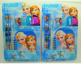 Wholesale 2014 Children Grils Study Accessories Child Frozen Snow Queen Stationery Pencil Eraser Sharpener Notebook Writing Set Elsa Anna D2651
