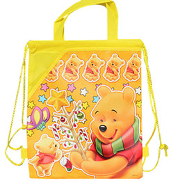 Hot sale new 60 pcs Popular cartoon Winnie the Pooh yellow pattern Bags Children School Bags Drawstring Backpack School Bag,Party