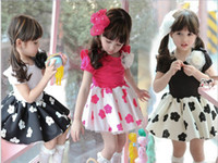 TuTu Summer A-Line GXR Children Clothing Summer Korean Girl Dress Short Sleeve Children's Plum Blossom Flower Dresses 2-7Year Baby Kids Princess Dress GX136