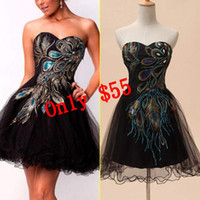 Real Photos Sweetheart Tulle Cheap In Stock Graduation Dresses A line Peacock Pattern Embroidery Black Sweetheart Lace-up Short Mini Homecoming Prom Cocktail Gowns 2014