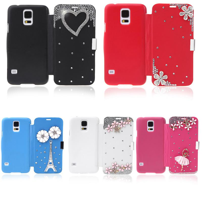 Buy Thin Lovely Flip Crystal Diamond Bling Flower Case Cover PU Leather Shell iPhone 6 iPhone6 Casing Samsung Galaxy S5 i9600 PA1605 PA1785