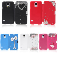 Wholesale Thin Lovely Flip Crystal Diamond Bling Flower Case Cover PU Leather Shell for iPhone iPhone6 Casing Samsung Galaxy S5 i9600 PA1605 PA1785