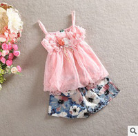 Girl slips - New Arrival Kids Suits Summer Girl Chiffon Dress Suits Solid Flower Dot Slip Dress And Printing Shorts Two Piece Suits