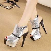 Wholesale The new sexy hollow out Serpentine stitching Fish mouth high heeled sandals shoes stiletto heel xz102