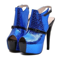 Wholesale Shoes Women s designer shoes sexy hollow out Serpentine stitching Fish mouth high heeled sandals stiletto heel xz102