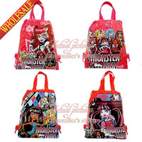 Wholesale 2014New Arrival Monster High School Cartoon Drawstring Backpack Kids Bag Mixed Designs Kids Handbags Party Favor Non woven Material