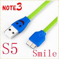For Samsung   Colorful Flat Smile LED Face Light Charger&Sync USB Cable for Samsung Galaxy S5 I9600 Note 3 N9005 N9000 N9006