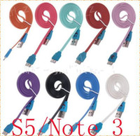 For Samsung   Micro USB 3.0 Charger Cable LED Light Smile Face Flat Noodle Micro USB Sync Data Cord 1m 3ft for Samsung Galaxy S5 I9600 Note 3 III N9006