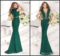 Reference Images Sleeveless V-Neck Tarik Ediz 2014 Spring Summer Evening Gown Formal Prom Dresses With Illusion Neckline Mermaid Green V Neck Royal Blue Sash Tie PM1275