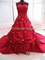 Wholesale Brand New Red Sweetheart Taffeta With Pick Up Skirt Bride s Wedding Dress Any size and colour