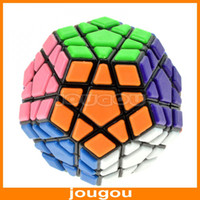 Wholesale High Quality Plastic Paster QJ Megaminx Magic Puzzle Cube Polygonal Black With Retail Box