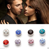 Wholesale Crystal Clip On No Ear Hole Magnetic Magnet Stud Earrings E0300