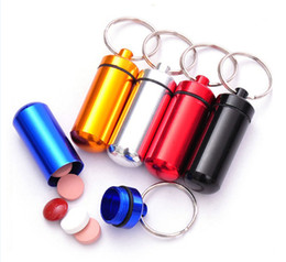 Wholesale Aluminum Pill Box Case Bottle Holder Container Keychain Key Chain Key Ring New Pill Splitters Cases Mixed Color DHL