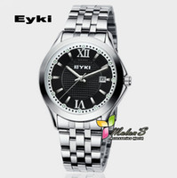 Unisex Round Analog 1pc Men Eyki Wrist watch,10M water-proof Roman number metal band Quartz calendar watch xmas gift , FREE SHIPPING