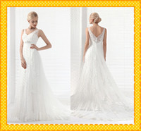 A-Line allure dresses - Sexy Designer Allure Beaded Lace Applique V neck Wedding Bridal Dresses Crystal Back Buttons Court Train Sheer Lace Wedding Gowns