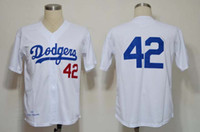 Wholesale 2014 Cheap Los Angeles Dodger Baseball Jerseys Men s Jackie Robinson White Cream Throwback Embroidery Logo Football Jerseys Mix Order