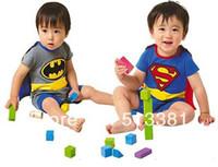 Wholesale set Short Sleeve Superman Romper Batman Romper Baby Boy Romper with Dress Smock Baby Cloak baby jumpsuit