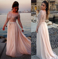 Reference Images Scalloped Chiffon Prom Dresses 2014 Gorgeous Crystal Beaded Elie Saab Prom Dresses Sheer Scoop Neck Long Sleeves A-Line Floor-Length Chiffon Evening Gowns