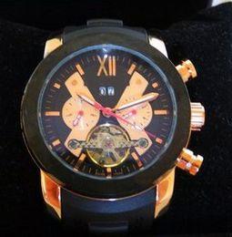 Luxury men sports watches fashion Automatic Mechanical tourbillon stainless swiss watch brand modern black rubber rose gold wristwatches new