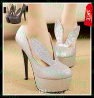 Women Pumps Stiletto Heel New Arrival Hot sexy bunny girl glitter silver pumps high heel stiletto heel lady prom dress shoes