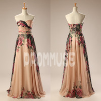 Wholesale 2014 Newest Prom Dress Real Photo A Line Sweetheart Floor Length Pleats Flower Print Chiffon Homecoming Party Evening Dresses EM01357
