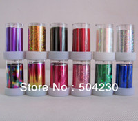 Decal 2D Metal 12 rolls nails sticker colored aluminum nail transfer foil paper wholesale
