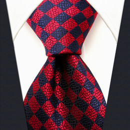 Wholesale H2 Checked Crimson Red Blue Navy Mens Neckties Ties Silk Jacquard Woven Brand New