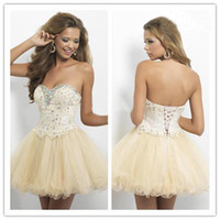 Reference Images Sweetheart Organza 2014 Sweetheart Ball Gown Champagne Short Mini Prom Dresses Lace Applique Beaded Homecoming Dress Free Shipping