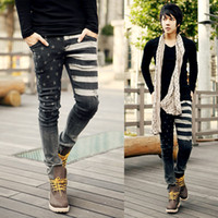 Wholesale 2014 New Spring American flag jeans for men water wash hole jeans male low waist pencil trousers skinny jeans Size MMJ660