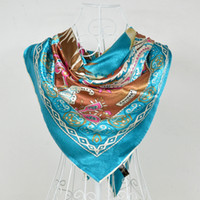 Scarves Yes Print 2014 Polyester Silk Scarf Printed,Fashion Graceful Blue Big Square Silk Scarf Shawl,Hot Sale Large Women Satin Scarves 110*110cm